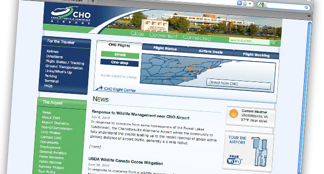Charlottesville-Albemarle Airport <h2>(CHO) Website</h2>